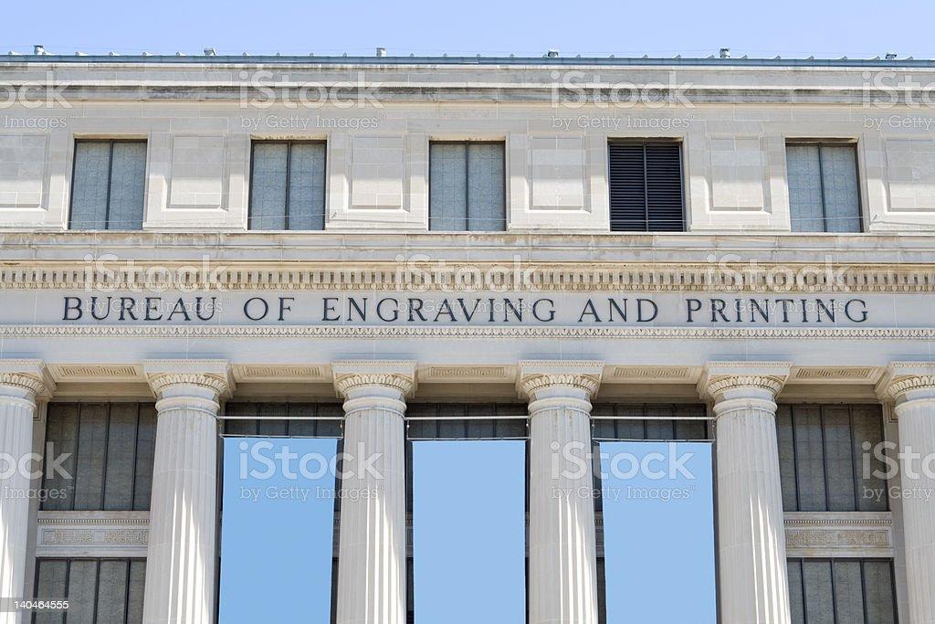 Bureau of Engraving and Printing Building Washington DC royalty-free stock photo