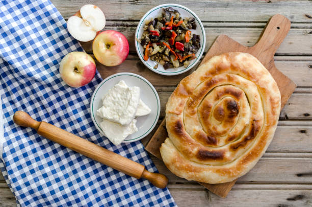 Burek with mixed fruit and cheese stock photo