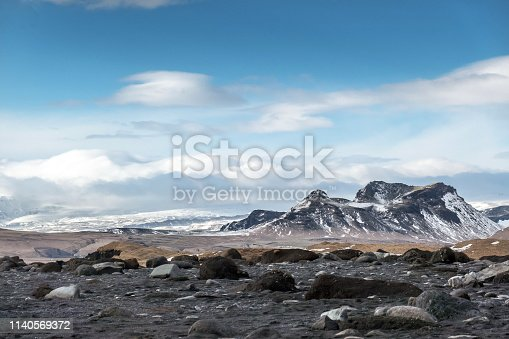 Burfell volcano and Mydalsjokull (glacier) in the background as seen from the beach of Reynisfjara. The mountain is a basalt tuya, with tuya being a type of volcano formed when lava erupts through an ice cap or a glacier. These mountains are recognisable by their distinct shape of a flat top and steep sides. Such mountains are rather rare worldwide, confined to areas where active volcanism is occurring at the same time as glacial coverage. Lava which erupts under a glacier cools relatively quickly and is restricted from travelling far, so as a result, the lava piles up into a steep-sided hill.