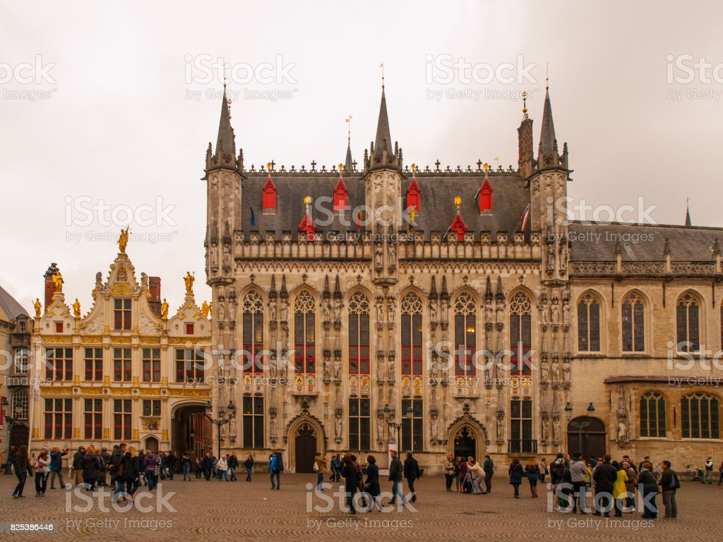 Burg square with City Hall in belgian Bruges stock photo