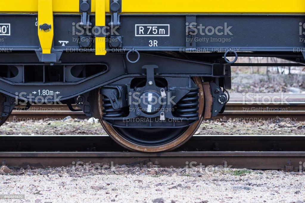 BurgasBulgaria January27, 2017 - FreightCargoTrain  YellowBlack Wheel4axledFlaCagons Type:Res Model:072-2 TransvagonAD stock photo