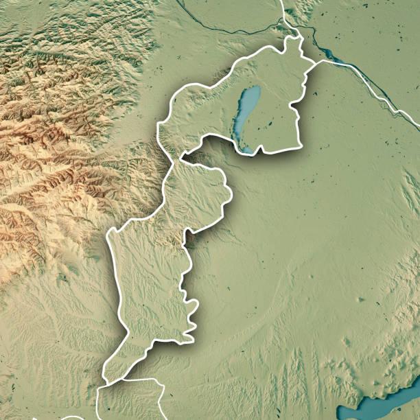 burgenland bundesland österreich 3d render topographische karte grenze - burgenland stock-fotos und bilder