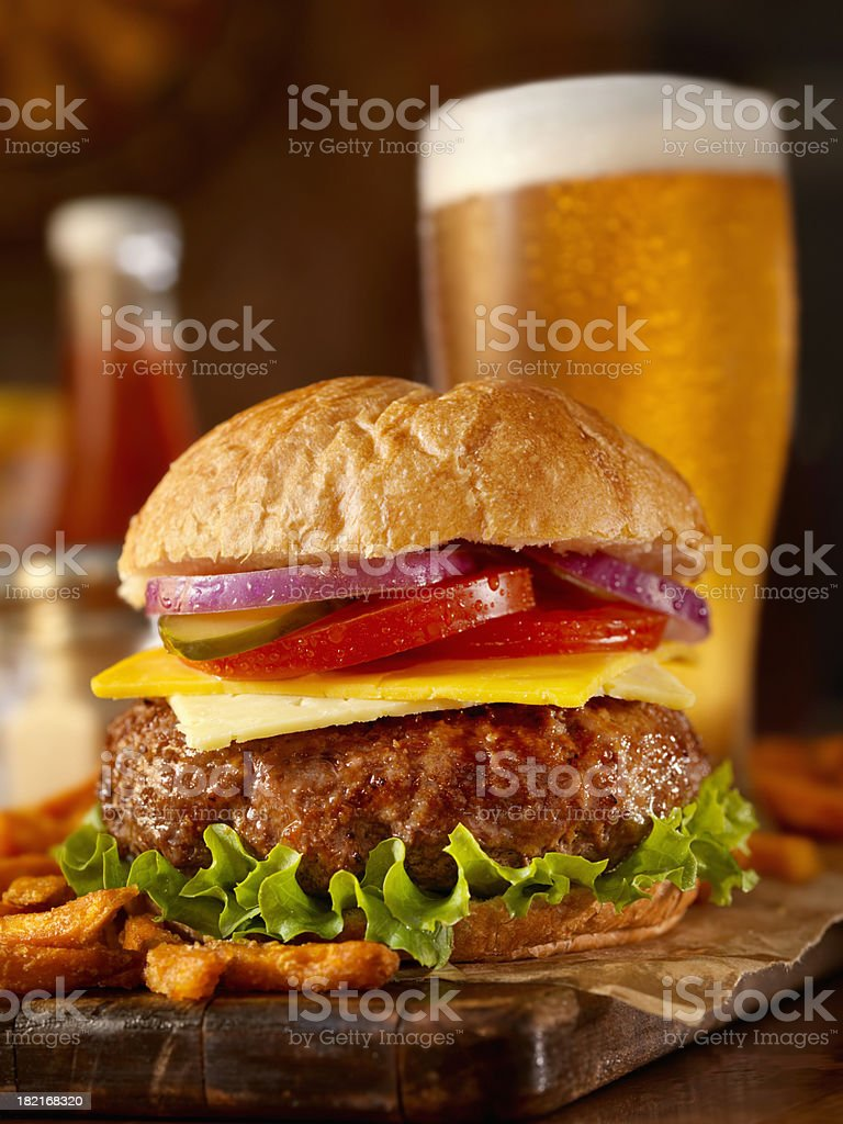 Burger and a Beer stock photo