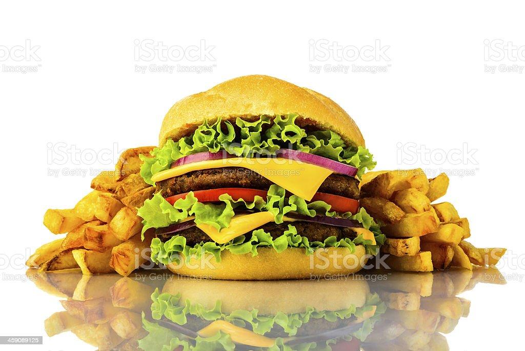burger und Pommes frites – Foto