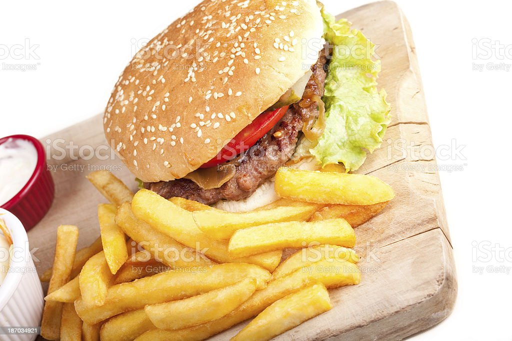 Burger and fries royalty-free stock photo