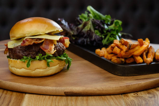 Burger Bar The Burger Bar Burger was cooked and shot at my studio with studio lighting. bacon cheeseburger stock pictures, royalty-free photos & images
