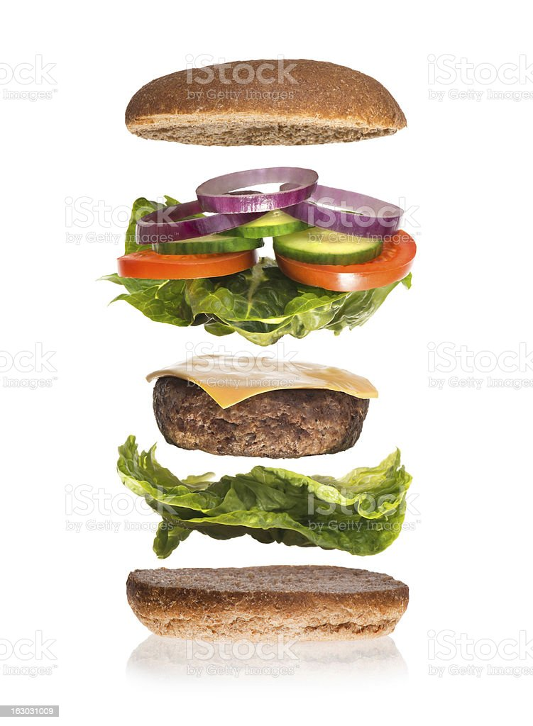burger deconstructed stock photo