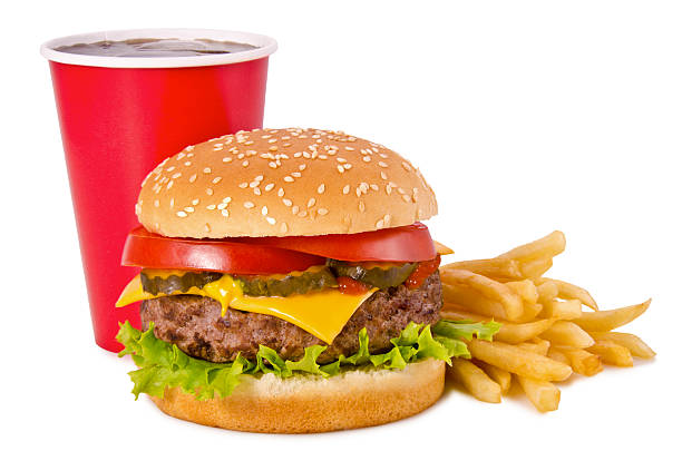burger, french fries and cola - 快餐 個照片及圖片檔