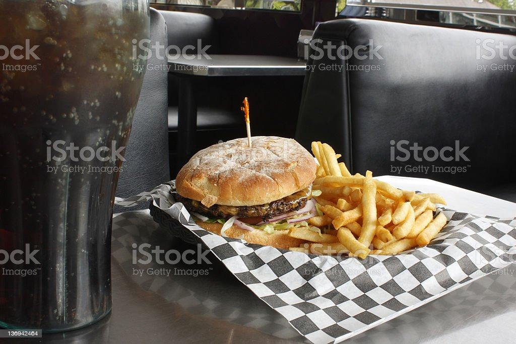 Burger, fries, and soda royalty-free stock photo