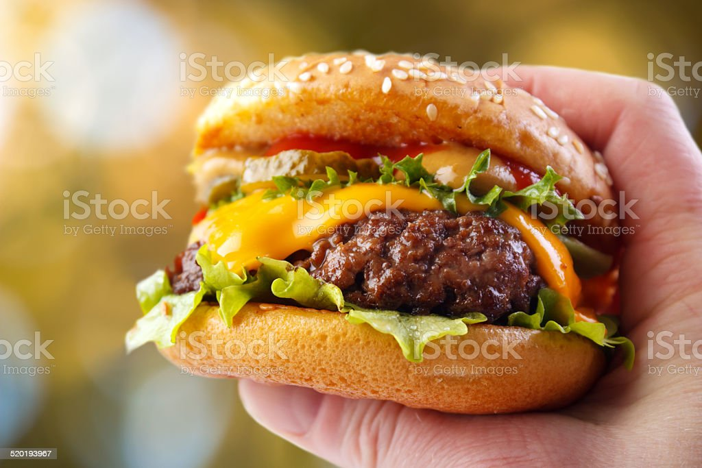 Burger in hand stock photo
