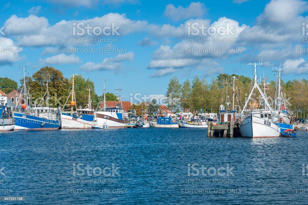 Burger inland lake with harbor of Burgstaaken stock photo