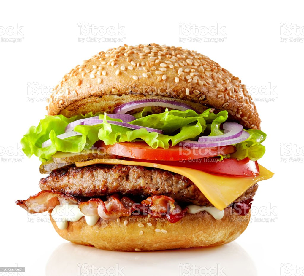 burger isolated on white stock photo