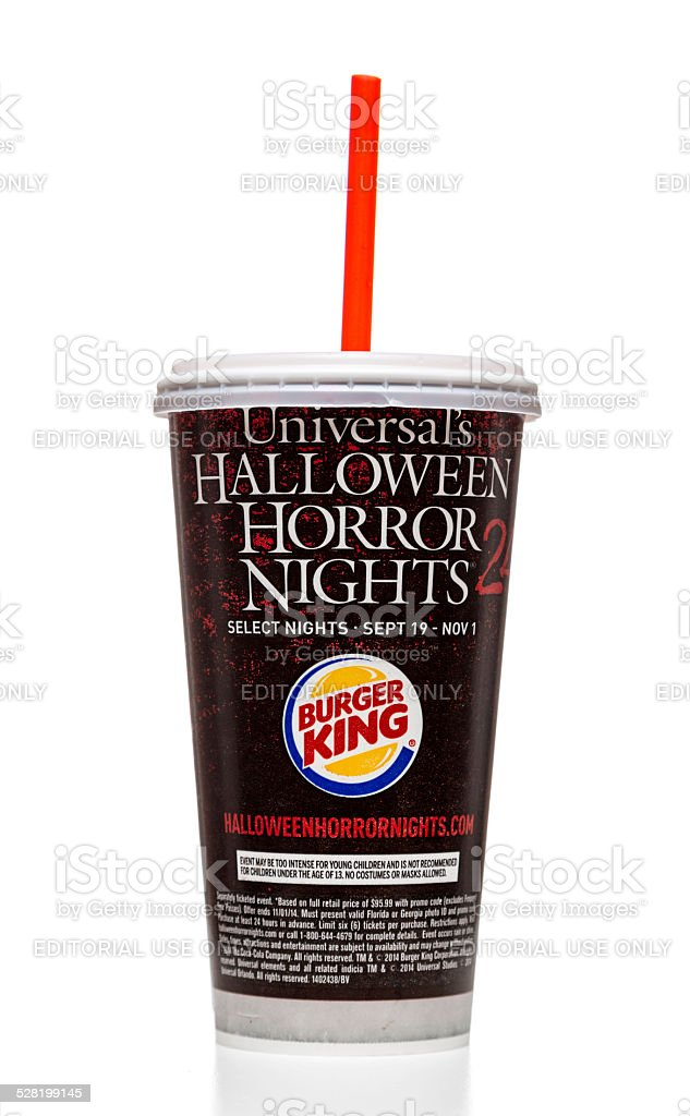 burger king soda cup with universal promo royalty free stock photo