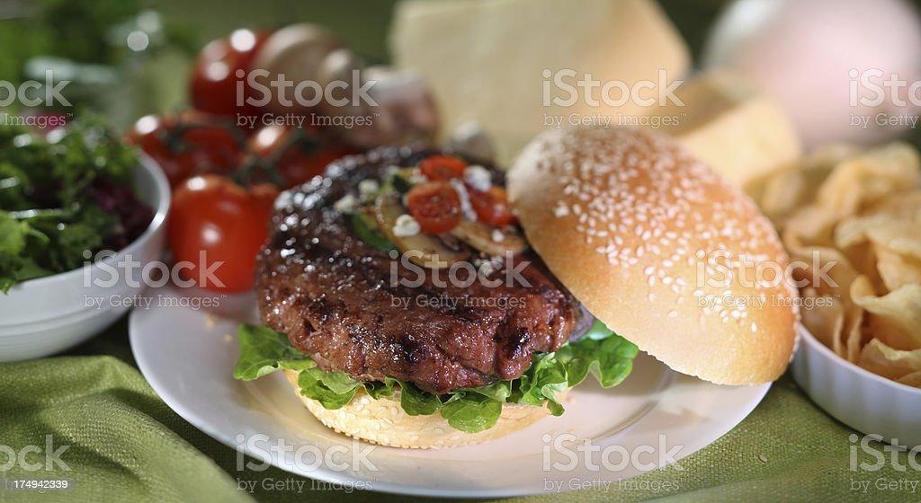 Close up image of Hamburger Meal. Sesame bun sandwich with beef patty...
