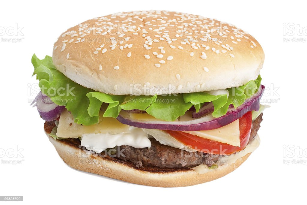 burger on white background royalty-free stock photo