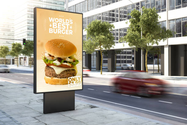 burger poster on the city stock photo