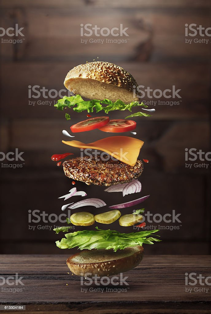Burger preparation ingredients stock photo