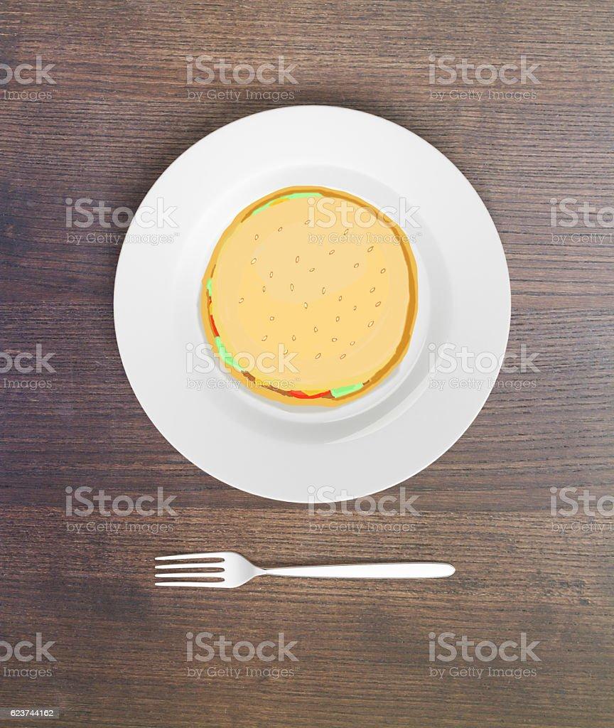 Burger sketch stock photo