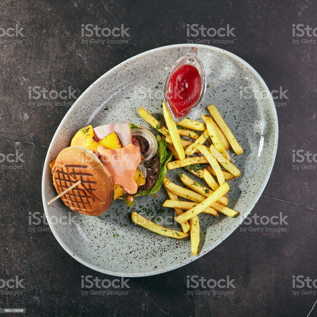Burger Top VIew zbiór zdjęć royalty-free