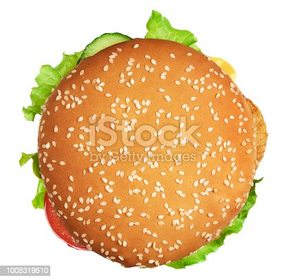 Big burger with clipping path. Isolated on white background. junk food