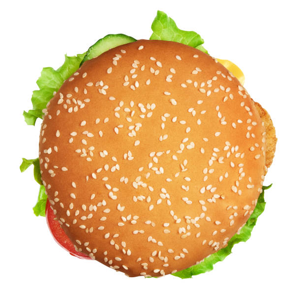 burger with clipping path. Isolated Big burger with clipping path. Isolated on white background. junk food directly above stock pictures, royalty-free photos & images
