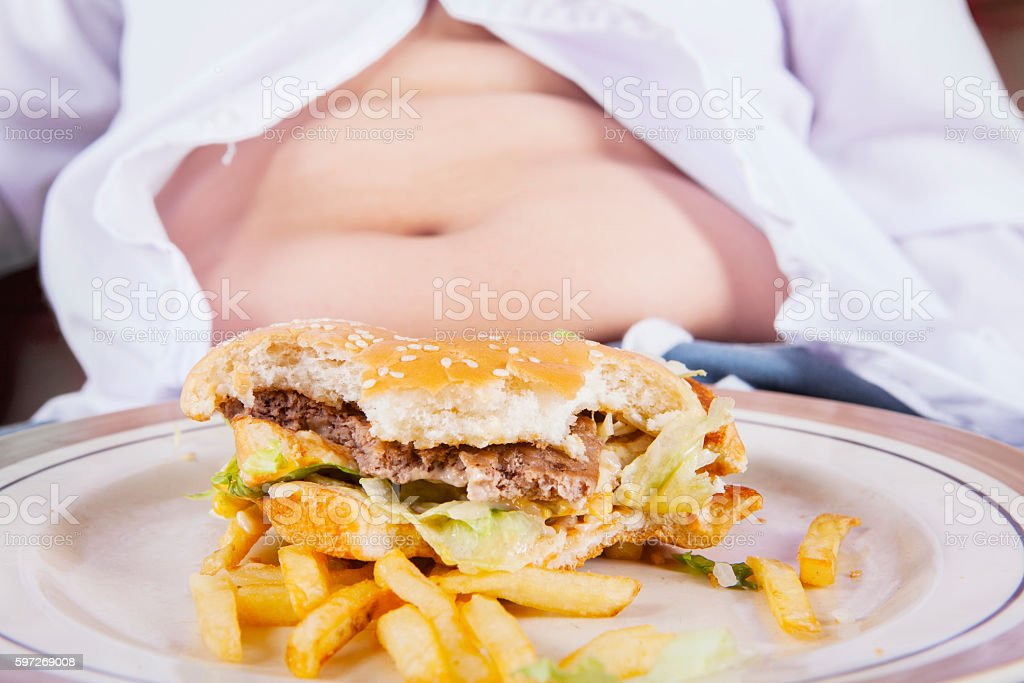 Burger with fat belly royalty-free stock photo