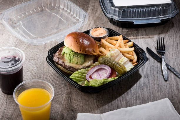 TO GO - Burger with fries, vegetables and drinks / Food photography (Click for more) stock photo