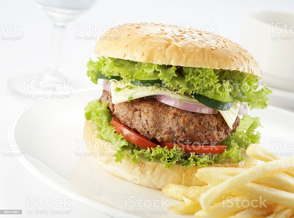 burger with restaurant setting royalty-free stock photo