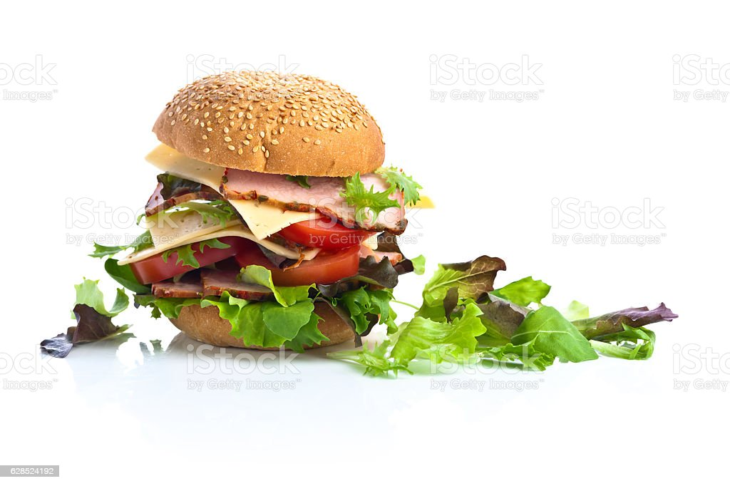 burger with salad, cheese and ham isolated on white  background stock photo