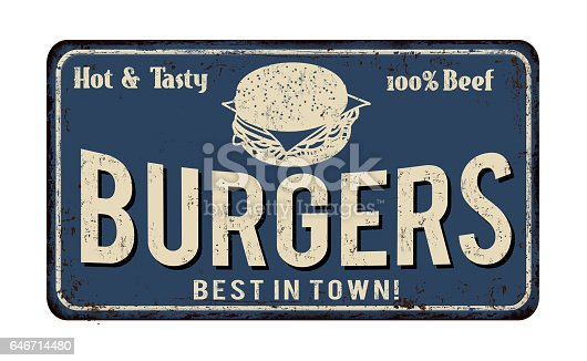 istock Burger zone vintage rusty metal sign 646714480