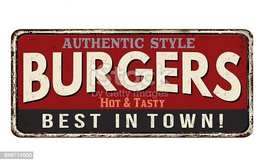 istock Burger zone vintage rusty metal sign 646714500