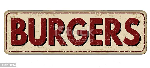 istock Burger zone vintage rusty metal sign 646716982