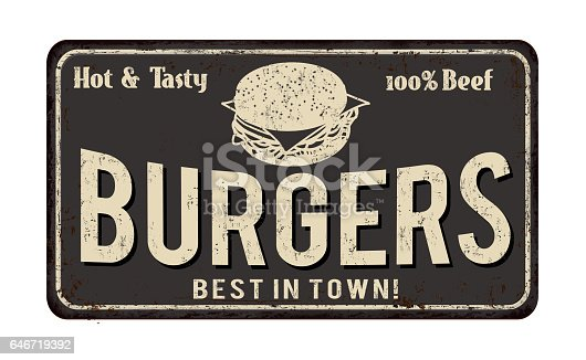 istock Burger zone vintage rusty metal sign 646719392