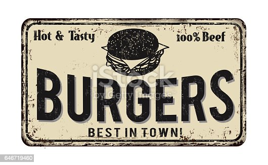 istock Burger zone vintage rusty metal sign 646719460