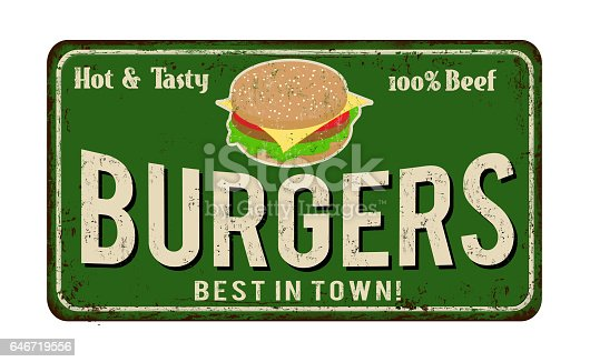 istock Burger zone vintage rusty metal sign 646719556