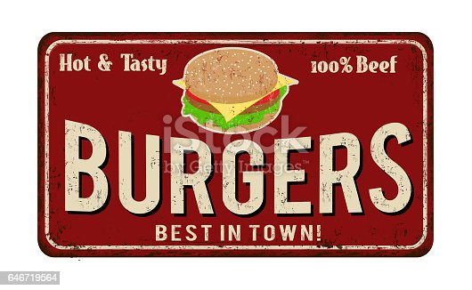 istock Burger zone vintage rusty metal sign 646719564
