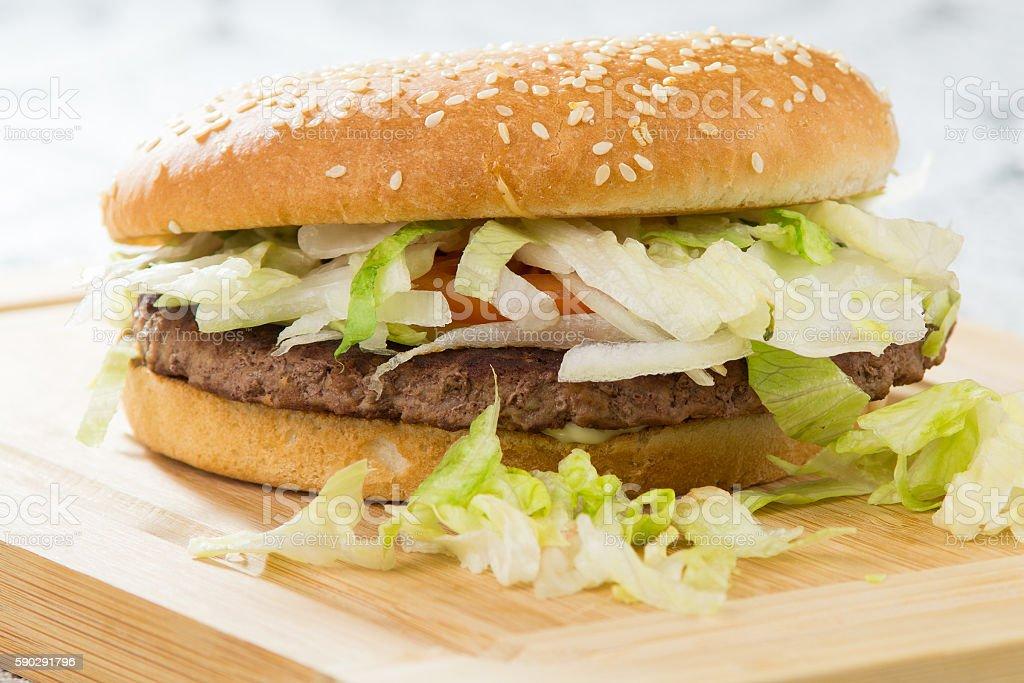 Burgers and fries, fast food hamburger royaltyfri bildbanksbilder