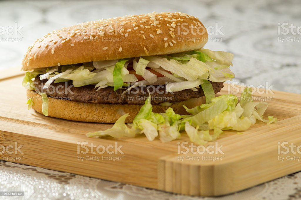 Burgers and fries, fast food hamburger royaltyfri bildbanksbilder