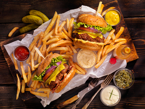 Classic Cheeseburger, Bacon Cheeseburger, French Fries and Beers
