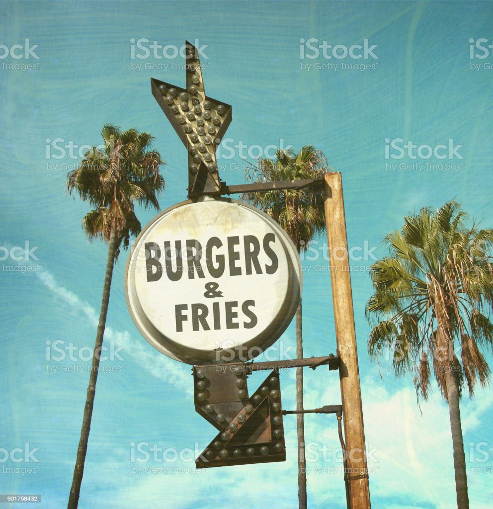 burgers and fries sign stock photo