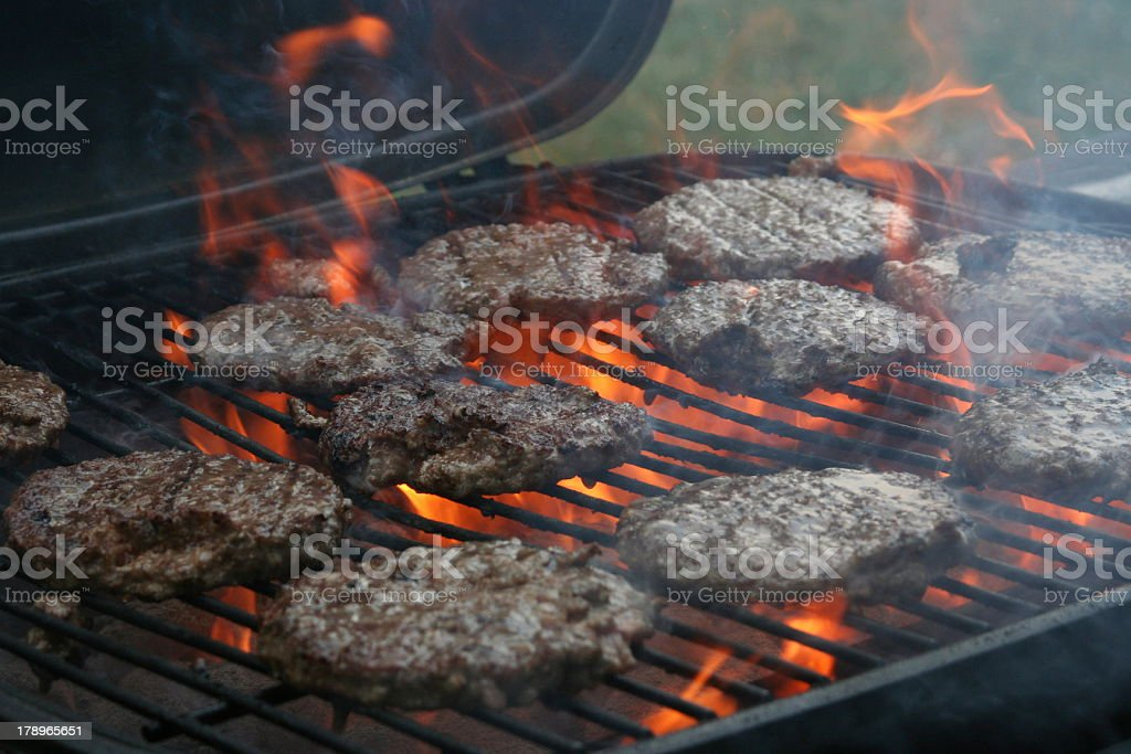 Burgers Grilling royalty-free stock photo