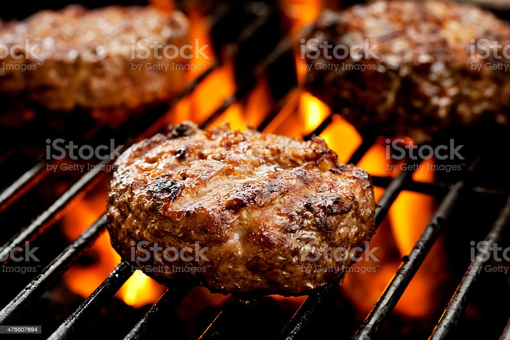 Burgers On The Grill stock photo