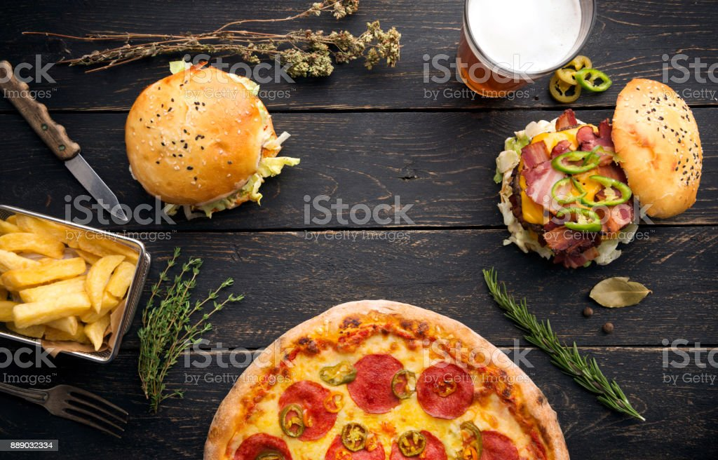 burgers with herbs and vegetables stock photo