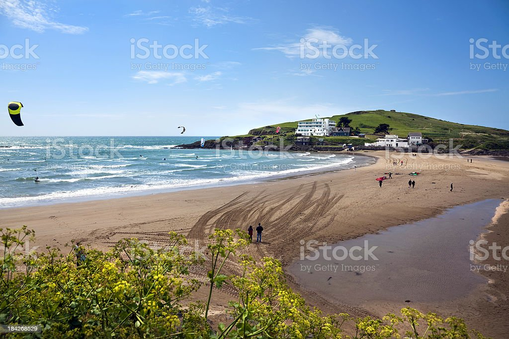 Burgh Island and Bigbury Bay in Devon stock photo