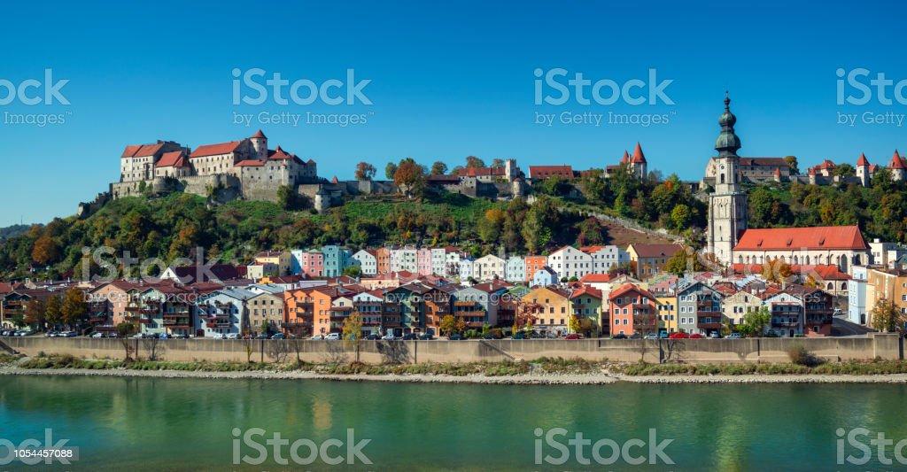 Burghausen Bavaria Germany 180 degree panorama stock photo