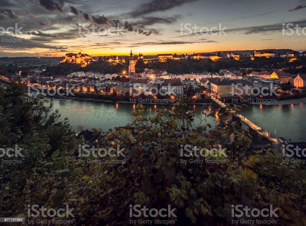 Burghausen, Germany, Upper Bavaria, at sundown stock photo