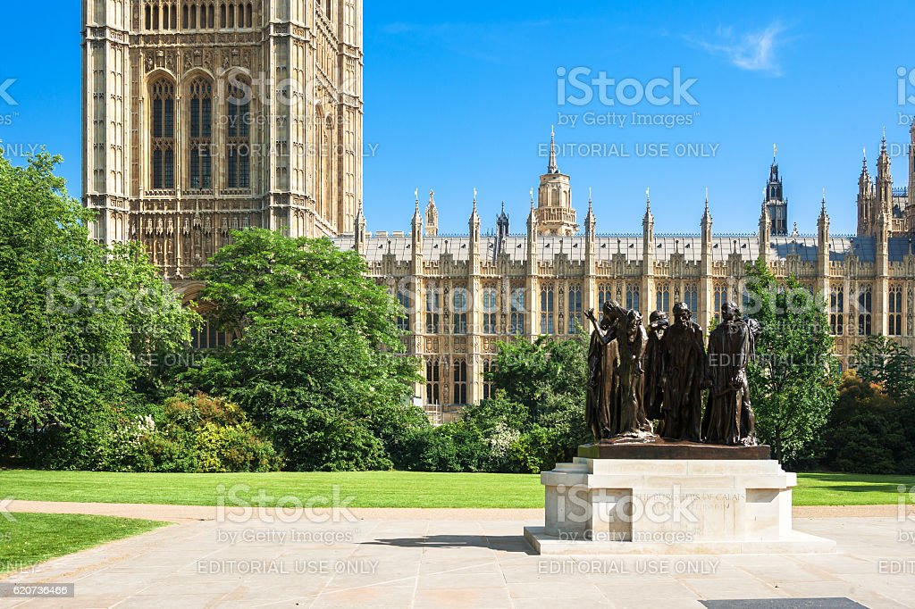 Burghers of Calais monument by Rodin. Victoria Tower Gardens, London stock photo