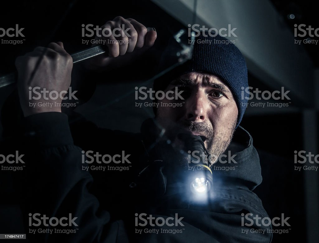 Burglar by night royalty-free stock photo