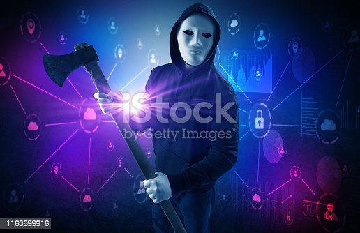istock Burglar in secured database and network concept 1163699916