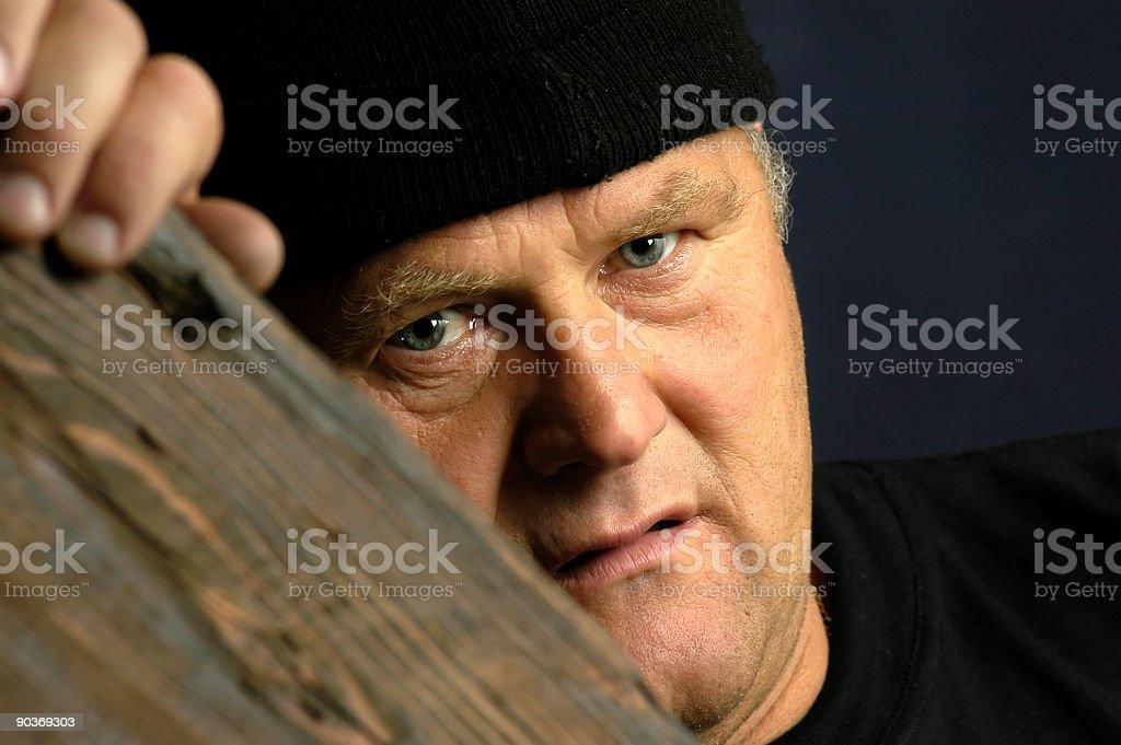 Burglarious look - burglar alert to the prey stock photo